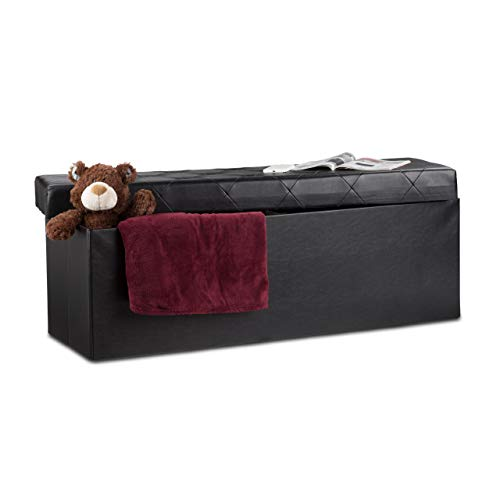 Relaxdays Faltbare Sitzbank, Aufbewahrungsbox mit Deckel, H x B x T: 38 x 114 x 38 cm, Sitzhocker, Kunstleder, schwarz - Leder-falt-hocker