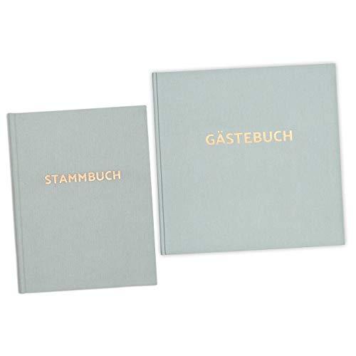 bigdaygraphix Stamm- und Gästebuch der Familie Familienstammbuch Gästebuch Hochzeit Mint Roségold mit Prägung
