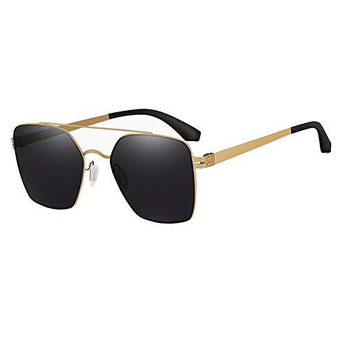 HD Sunglasses Female Fahrspiegel Fahrerspiegel Edelstahl Ultra Light Glasses UV400 Square Sunglasses Brille (Farbe : Black)