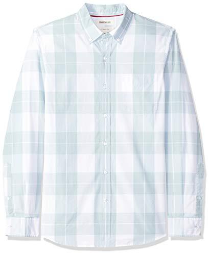 Light Blue Plaid Shirts (Goodthreads Herren Slim-Fit Hemd aus Baumwoll-Popeline mit Karomuster und langen Ärmeln, Blau (Light Blue Plaid Lig), Gr. Medium)