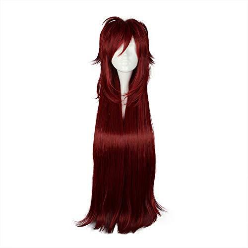 NiceLisa Mädchen Lange Deep Wine Red Gerade Anime Cosplay Kostüm Synthetische Halloween ()