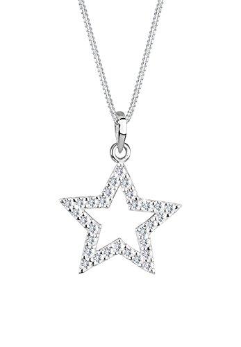 Elli Damen Schmuck Halskette Kette mit Anhänger Stern Astro Silber 925 Swarovski® Kristalle Länge 45 cm