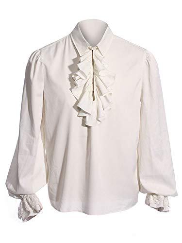 Romancan Herren Cosplay Gothic Victorian Rüschenhemd Mittelalter Hemd Elegant Langarmshirt