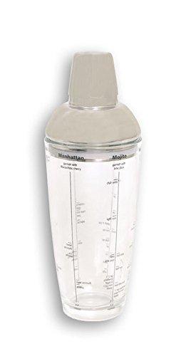 Dakota Shaker, 550ml aus Glas mit Deckel aus Metall für dienen: Martini, Manhattan, Mojito, Margarita, Long Island, Cosmopolitan. Mit Wasserstandsanzeige für 1oder 3Cocktails 1Stück