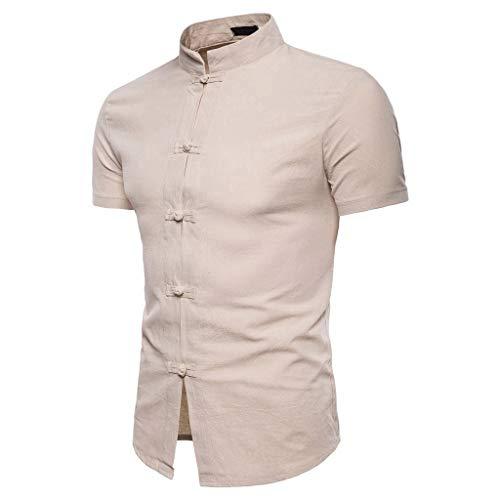Khaki-seersucker (T-Shirts Herren Lässige Sommer chinesische Einfarbig Kurzarm Hemd Stehkragen T-Shirt Top Bluse Regular Slim fit Pullover Khaki Shirt)