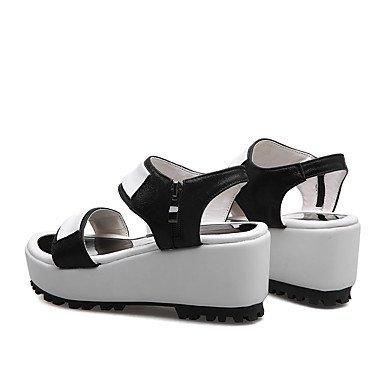 LvYuan Damen-Sandalen-Büro Kleid Lässig-PU-Keilabsatz-Club-Schuhe-Schwarz Silber Silver