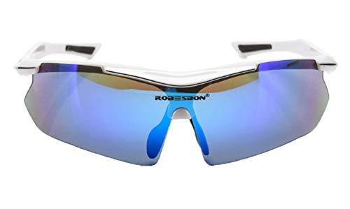 AmDxD TPU+PC Motorradbrillen Radsportbrille Radbrille Polarisierte Brille Winddicht Sonnenbrille für Motorrad Fahrrad Helmkompatible, Weiß