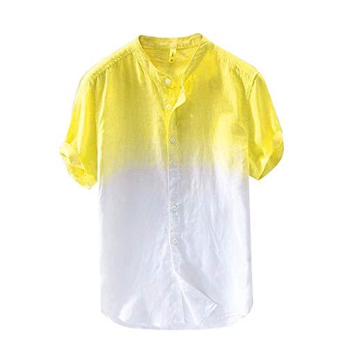 Sommer Herren cool und dünn atmungsaktiv Kragen hängen gefärbt Farbverlauf Baumwollhemd ()