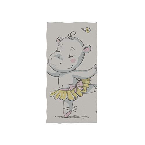 Farbige Kinder Lieblings Tier Hippo Soft Spa Strand Badetuch Fingerspitze Handtuch Waschlappen Für Baby Erwachsene Badezimmer Strand Dusche Wrap Hotel Travel Gym Sport 30x15 Zoll (Billig Tutu Für Erwachsene)