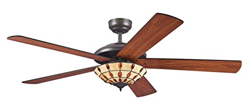 Westinghouse Ceiling Fans 72485 Comet 132 cm Espresso Indoor Ceiling Fan, Light Kit with Tiffany Glass
