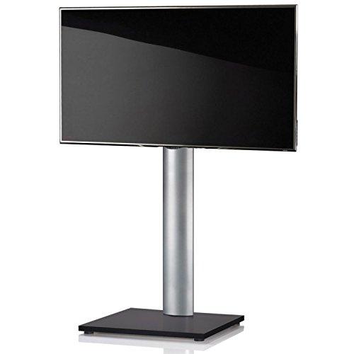 VCM TV Standfuß LED Ständer Fernseh Alu Glas Universal VESA Mobil Rollen  Zwischenboden Schwarzlack