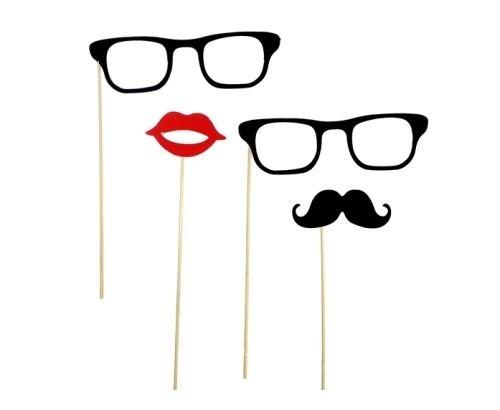 buybyme Mr & Mrs Party Foto Verkleidung auf Stick Brille Schnurrbart Hochzeit Requisiten Silvester Geburtstag Animation deko Accessoire