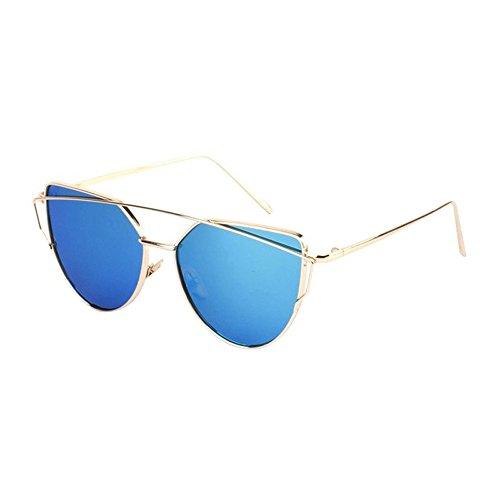 Tonsee Twin-Beams Classic Frauen Metall Frame Spiegel Sonnenbrille Katze(Gold+Blau)
