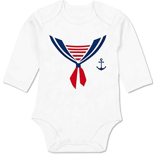 Shirtracer Karneval und Fasching Baby - Seefahrer Kostüm Halstuch - 3-6 Monate - Weiß - BZ30 - Baby Body Langarm