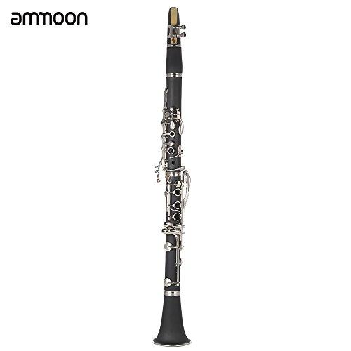 Ammoon® ABS Clarinete Bb Cuproníquel Plateado Níquel 17 Tecla con Grease Cork Paño de Limpieza Guantes Destornillador Viento Madera Instrumento para el Principiante Estudiante