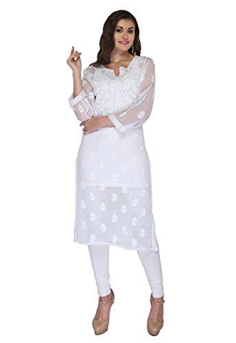 ADA Hand Embroidery Lucknowi Chikankari Regular Wear Faux Georgette Kurti Kurta A138791