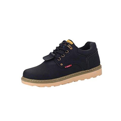 Botas de hombre Zapatos de hombre Moda Casual Lace Up Cuero Deporte Bajo Martín Zapatos LMMVP (Negro, 43)