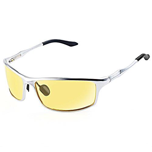 DUCO Nachtsichtgläser bei blendenden Scheinwerfern Autofahren Nachtfahrbrille polarisierte Sportbrillen mit gelben Gläsern 8201Y (Silber)