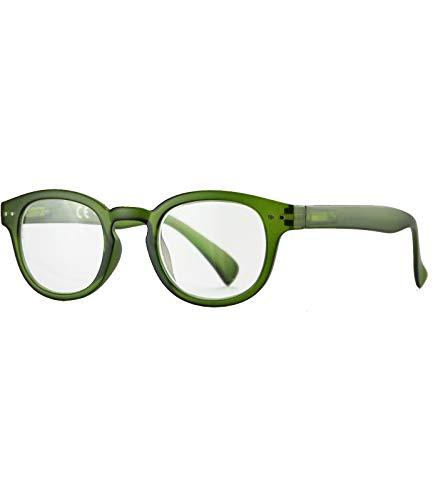 Caripe Herren Damen Lesebrille rund Retro Nerd Vintage Lesehilfe + Brillen-Etui - M2029 (+ 1,0 dpt - grün)