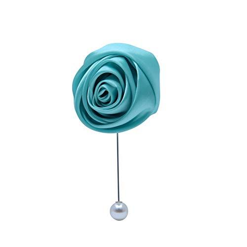 Quibine Peal Seide Rose Boutonniere Knopflochblume handgefertigt, Bräutigam Beste Herren-Brosche, Ansteckblume, künstliche Ansteckblume, für Hochzeit, Homecoming und Abschlussball Tiffany