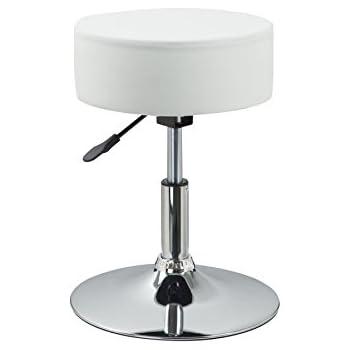 Drehhocker höhenverstellbar  Drehhocker Sitzhocker Weiß Hocker RUND höhenverstellbar aus ...