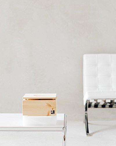 ZirbenLüfter CUBE mini pure, natürlicher Luftbefeuchter / Luftreiniger aus Zirbe / Zirbenholz. – Räume bis 15 m2. (Abdeckung Holz – Zirbe mit Blume des Lebens) - 4