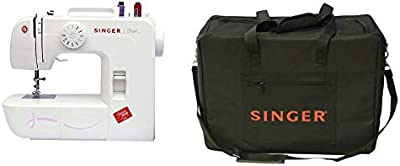 Singer Start 1306 - Máquina de coser mecánica, 6 puntadas, color blanco + Funda para máquina de coser, color negro