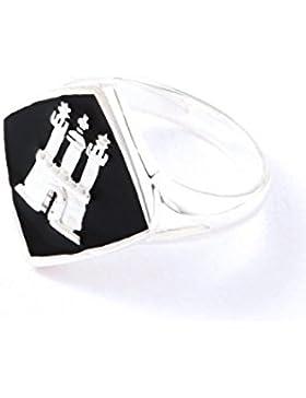 Hamburg Schmuck Ring TPR005 Silber schwarz