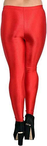 Women's Shiny Satin Lycra red Color Leggings Large Size