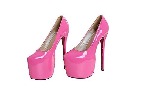 Verocara Women's Stiletto High Heels Flatform Wedding Pump Shoes Peach 6 UK