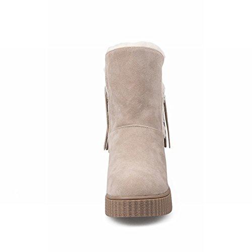 Mee Shoes Damen Quaste runde Durchgängiges Plateau Scheestiefel Beige