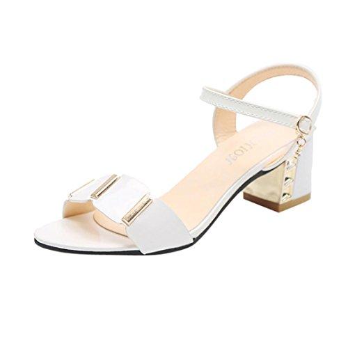 Elecenty scarpa sandalo donna sintetico tacco medio-basso con cinturino alla caviglia (eu:39, bianco)