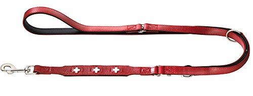 HUNTER Swiss Verstellbare Führleine für Hunde, Leder, hochwertig, schweizer Kreuz, 1,8/200 cm, rot (Leder Hund Halsband Und Leine)