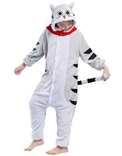 Pyjamas Kigurumi Jumpsuit Onesie Mädchen Junge Kinder Tier Karton Halloween Kostüm Sleepsuit Overall Unisex Schlafanzug Winter, Tabby Katze