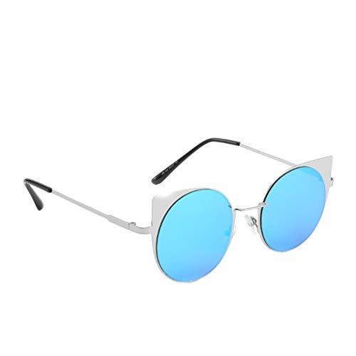Yolmook Unisex Sonnenbrille, klein, Vintage, Retro, unregelmäßige Form Gr. Einheitsgröße, blau