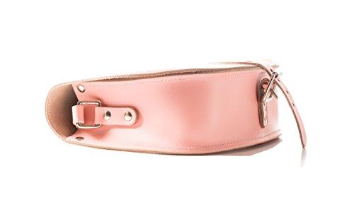 Vera pelle Saddle Croce borsa corpo con fibbia di chiusura e tracolla regolabile. Disponibile in vari colori. Baby rosa