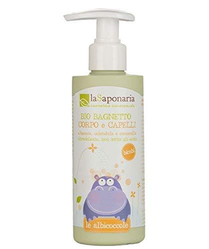 LA SAPONARIA - Bain Moussant Bio pour Tout-Petits - Nettoie en douceur la peau et les cheveux - Ne pique pas les yeux - Apaise la peau - Vegan - 200 ml