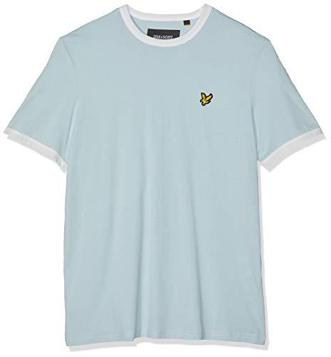 Lyle & Scott Herren Ringer T-Shirt, Blau (Blue Shore/Snow White), M - Humor Ringer