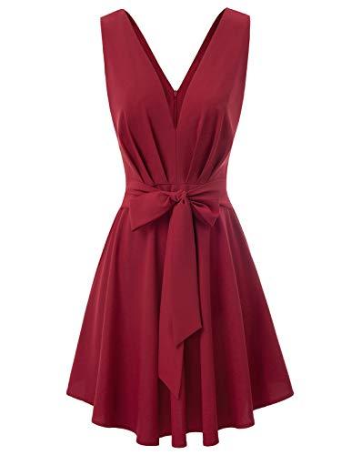 GRACE KARIN Robe Plissée sans Manche Femme Vintage de Soirée Cocktail Bal années 1950s Style Vin Rouge XL CL42-2