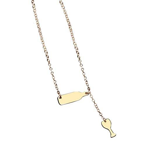 Dorical Kette Damen, Damen Schmuck Halsband Chain Halskette Anhänger Necklace Halsbänder Für Frauen/Mode Charme Kristall Perlen Weinglas Liebhaber Halskette Valentine\'s Day Kette Sale(Gold)