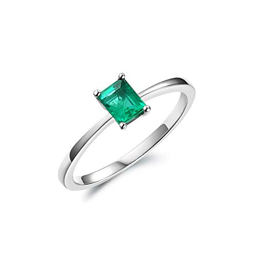 HSUMING Jahreary/Best Gift for Her-Simple 18K White Gold Natural Emerald Ring