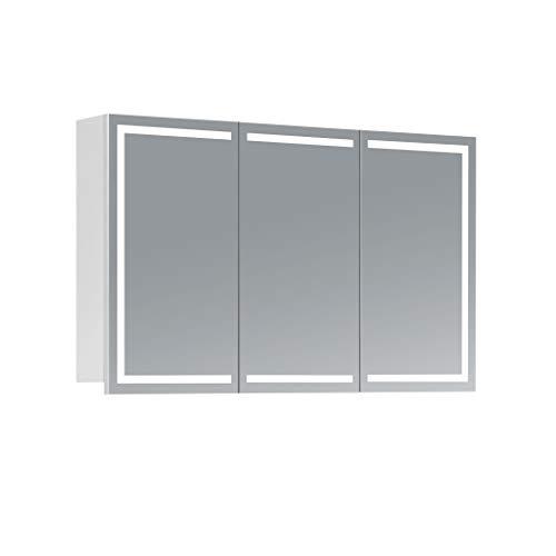 HAPA Design Spiegelschrank Milano weiß mit LED Beleuchtung in Lichtfarbe 4000K, VDE Steckdose, Softclose Funktion und verstellbaren Glas Ablagen. Komplett vormontiert. SGS geprüft. (100 x 60 x 14 cm)