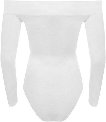 WearAll - Tiefebene Schulterfrei Langarm-Trikot Top Bodysuit - 7 Farben - Größen 36-42 Weiß