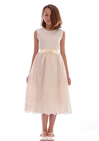 Mädchen-Creme-Kleid mit erstaunlichem Blumenapplique-Detailing Hochzeits-Taufe 6-12 Monate zu 9-10