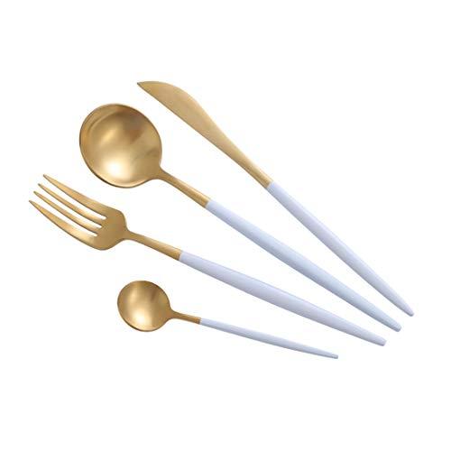 JIEHUSHI Doppelte Farbe Gold Silber Geschirr Set Edelstahl Abendessen Messer Gabel und Teelöffel Besteck White-Gold (Messer-set Koch Rosa)