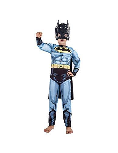DS (GR. 98-134) Cooles BATMAN MUSKEL-KOSTÜM mit MASKE Overall Faschingskostüm Junge Halloween Kinder-Verleidung (110-116)