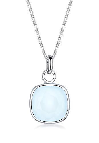 Elli Damen-Halskette mit Anhänger Edelstein Hellblau silber 925 Swarovski Kristall blau 0112441715_45 - 45cm Länge