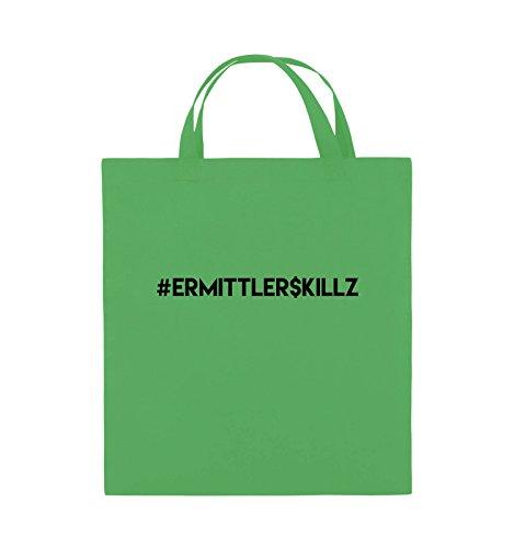 Comedy Bags - #ERMITTLER$KILLZ - Jutebeutel - kurze Henkel - 38x42cm - Farbe: Schwarz / Pink Grün / Schwarz