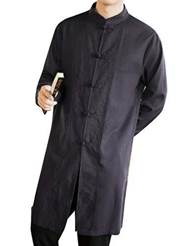 CuteRose Men's Tai Chi Cotton Linen Maxi and Midi Trench Coat Jacket Dark Grey 3XL