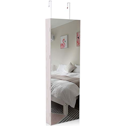 COSTWAY Wardrobe Mirror Wall Jewelry Box Door 120 x 40 x 12cm Jewelry Pendant Shelf Cabinet Organizer Storage